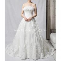 A-line Strapless Cathedral Train Organza Lace Petals Sequins Beading Ruffled Wedding Dress Manufactures