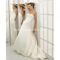 A-line Sweetheart Cathedral Train Satin Beading Wedding Dress Manufactures