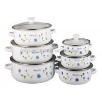 Buy cheap 676DG enamel cookware pot set with decor and glass cover from wholesalers