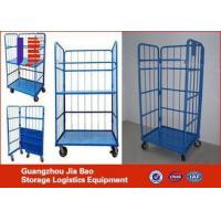 Metal Movable Warehouse Mobile Storage Logistics Trolley , Industrial Steel Wire Cart Manufactures