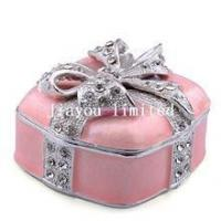 Buy cheap TBP0932k2-Square pink gift box w bow wedding jewelry box bejeweled trinket box from wholesalers