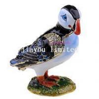 Buy cheap TBP0103 Puffin bird crystal trinket box metal jewellery box vintage storage box from wholesalers
