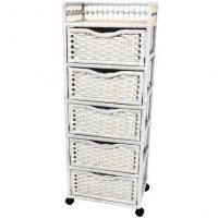 Wholesale Natural Fiber Chest on Wheels - Five Drawer from china suppliers