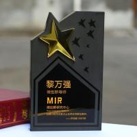 Wholesale New Design Top Quality Black Star Crystal Trophy from china suppliers