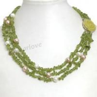 Buy cheap GN52 Lemon jade olivine crystal beads 3-row necklace from wholesalers