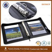 Buy cheap black leather zippered 3 ring binder / folder / portfolio from wholesalers