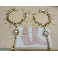 ETHNIC INDIA Pearl gold tone beautiful crystal anklets payal pair with attached toe ring