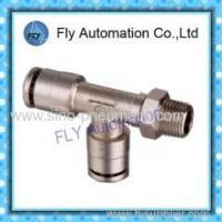 China Pneumatic Tube Fittings T-side three-way copper nickel-plated male thread push-in fitting PD series on sale