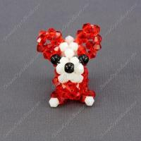 Wholesale Crystal 3D beading Papillon puppy dog Charm Kit, 35x30mm, red from china suppliers