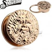 Wholesale Chinese Zodiac Dragon Logo Casting Rose Gold Stainless Steel Ear Plug from china suppliers