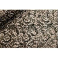 China Vortex Lace Foiled Gold Black Chemical Guipure Lace Fabric Women Apparel Fabric on sale