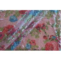Buy cheap New! Lace Ground Iridescent Transparent Sequin Embroidery Floral Printed Fabric from wholesalers