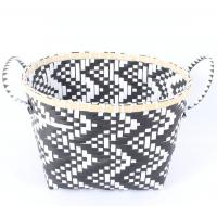 China PP with hand woven twill storage basket/bamboo frame on sale