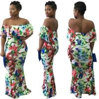 Wholesale New Off Shoulder Collar Flounced Skirt White Flower Print Maxi Dress QZ2119 #QZ2119 from china suppliers
