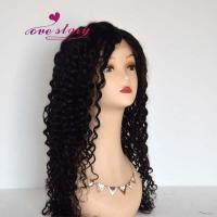 Buy cheap 1b# hair color 22 inch curly hair front lace wig from wholesalers