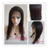 Buy cheap Glueless lace front cap ombre hair wigs 16 inch Coarse yaki Chinese virgin lace wigs-LFW11 from wholesalers