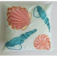 sea shells embroidered on to light green pillow and cushion cover