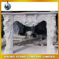Buy cheap Elegant White Jade Marble Fireplace with Angel Carving from wholesalers