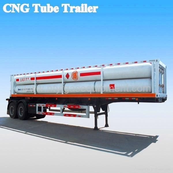 Quality Tri-axle 4 tubes CNG trailer equipment for Gas storage and transportation for sale