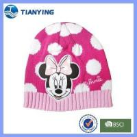 Buy cheap girl cute mickey pattern acrylic knitted beanie hat from wholesalers