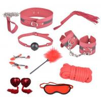 Wholesale 9pc Leather Bondage Set Kit Collar, Whip, Gag ball, Rope, Handcuffs from china suppliers