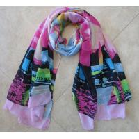 Buy cheap lady hot selling cashmere scarf printing abstract painting pink and black unique design wholesale from wholesalers
