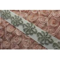 Wholesale Crystal wedding beaded DIY sash headpiece bridal beaded appliques from china suppliers