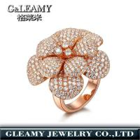 Buy cheap rose gold plated 925 sterling silver ring,diamond flower ring from wholesalers