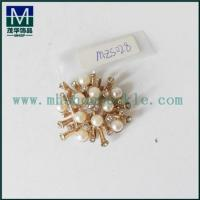 Buy cheap Fashion gold plating alloy metal buckle flower shape with pearl shoe buckle from wholesalers