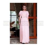 Buy cheap Pink cap sleeves long formal wear bridesmaid dress loose style from wholesalers