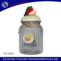 Buy cheap wholesale clear glass sugar and salt pot with ceramic lid,cookies jar with handy tag from wholesalers