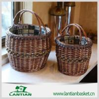 Buy cheap use wicker storage basket with wooden handle and logo liner from wholesalers