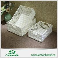 Buy cheap Painted White rectangular wicker storage basket with good quality from wholesalers