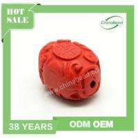 Buy cheap Cinnabar Stone, Red, Longevity Chinese Symbol Flat Oval Carved from wholesalers