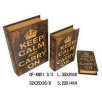 Wholesale Book Box crown with english words keep clam pvc printing wooden book box from china suppliers