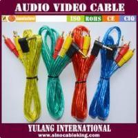 Buy cheap TRANSPARENT foil shielding 1*3 AUDIO VIDEO CABLE for Egypt with L shape plugs in gold pin from wholesalers