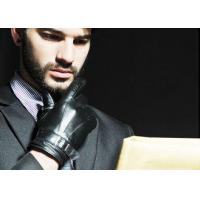 Sheep Leather Men Leather Gloves With Buckle Belt Cuff , Black Mens Thin Leather Gloves