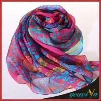 Red Flower Infinity Voile Printed Dubai Shawl