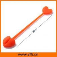 Buy cheap silicone tie Orange color silicone tie wrap for food bag fastening product