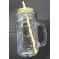 Wholesale glass jar with screw-cap 660ml clear glass mason jar with straw from china suppliers