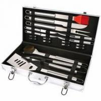 Wholesale 19 pcs steel BBQ tool set with Aluminum case from china suppliers