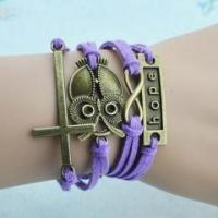 Wholesale Religious Cross Night Owl Hope Multi-Strand Wrap Bracelet from china suppliers