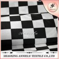 Buy cheap Hiah quality black and white chequer printed satin fabric from wholesalers