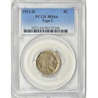 Buy cheap 1913-D Buffalo Nickel Type 2 PCGS MS-64 from wholesalers