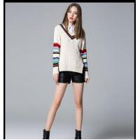 Wholesale 100%cotton stripped cable pullover ladies' knitted sweater 2016 from china suppliers