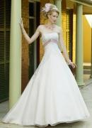 Buy cheap Column Inverted V Beaded Satin Lace Wedding Dress from wholesalers