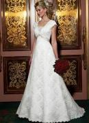 Wholesale A-line(Princess) Inverted V Lace Satin Wedding Dress from china suppliers
