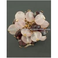 Buy cheap Handmade rose quartz and amethyst ring from wholesalers