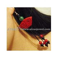 Carved lacquerware pure manual LUCKY long drop earrings