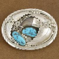 Sleeping Beauty Turquoise Bear Claw Belt Buckle Manufactures
